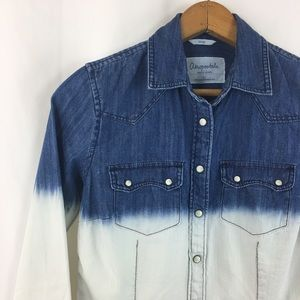 Aeropostale Denim Fitted Pearl Snap Shirt S